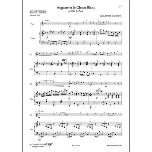 FLEX EDITIONS ROYER-CARDONA CECILIA - AUGUSTE ET LE CLOWN BLANC - FLUTE ET PIANO