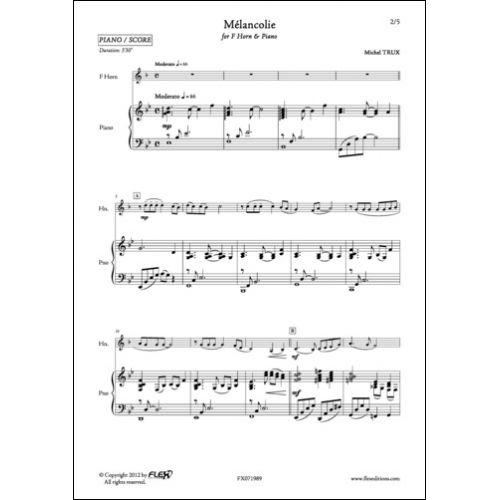 FLEX EDITIONS TRUX M. - MELANCOLIE - COR ET PIANO
