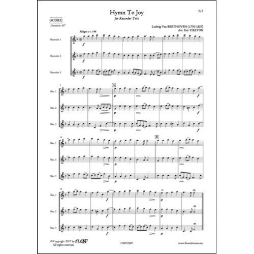FLEX EDITIONS BEETHOVEN L. VAN - HYMNE A LA JOIE - TRIO DE FLUTES A BEC