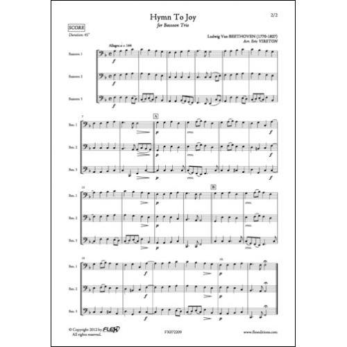 FLEX EDITIONS BEETHOVEN L. VAN - HYMN TO JOY - BASSOON TRIO