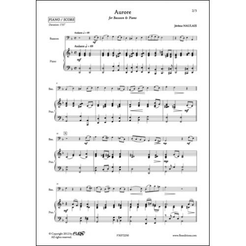 FLEX EDITIONS NAULAIS J. - AURORE - BASSOON AND PIANO