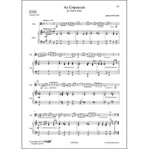 FLEX EDITIONS NAULAIS J. - AU CREPUSCULE - VIOLA AND PIANO