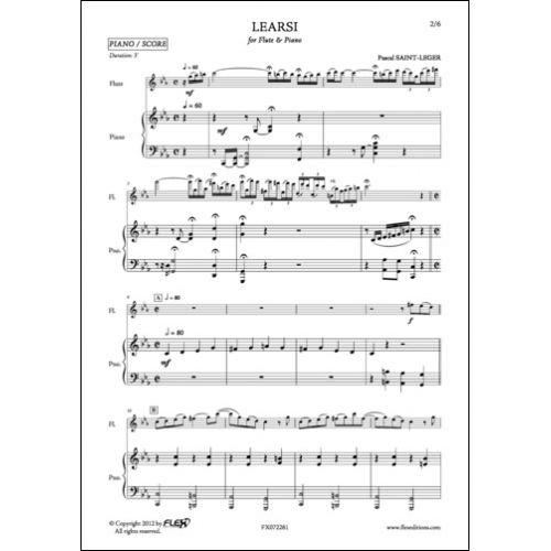 FLEX EDITIONS SAINT-LEGER P. - LEARSI - FLUTE ET PIANO