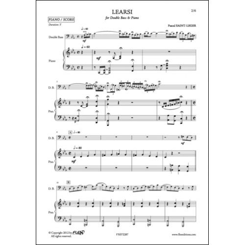 FLEX EDITIONS SAINT-LEGER P. - LEARSI - DOUBLE BASS AND PIANO