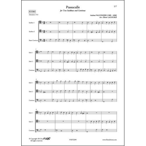 FLEX EDITIONS FALCONIERI A. - PASSACALLE - SACKBUT DUET AND CONTINUO