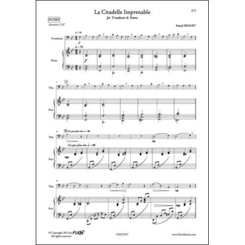 FLEX EDITIONS PROUST P. - LA CITADELLE IMPRENABLE - TROMBONE AND PIANO