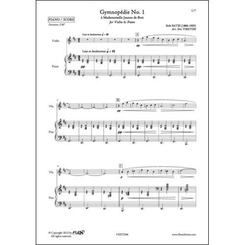 FLEX EDITIONS SATIE E. - 3 GYMNOPEDIES - VIOLIN AND PIANO