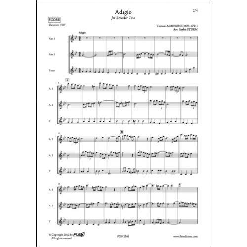 FLEX EDITIONS ALBINONI T. - ADAGIO - TRIO DE FLUTES A BEC