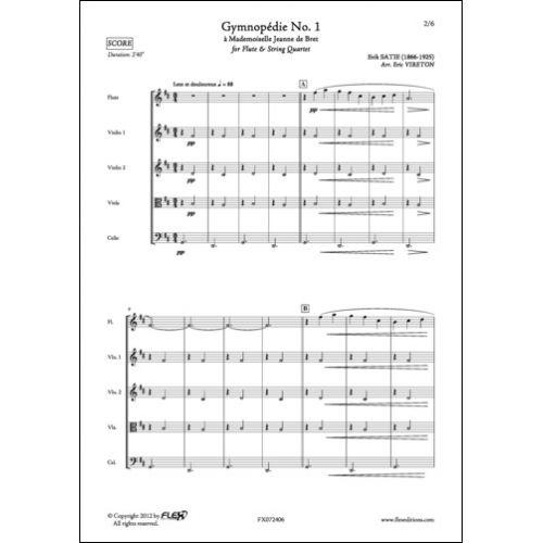 FLEX EDITIONS SATIE E. - GYMNOPEDIE NO. 1 - FLUTE AND STRING QUARTET