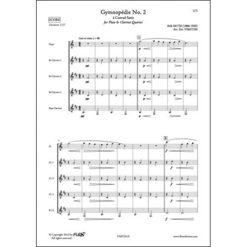 FLEX EDITIONS SATIE E. - GYMNOPEDIE NO. 2 - FLUTE AND CLARINET QUARTET