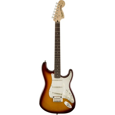 SQUIER BY FENDER STRATOCASTER FLAME MAPLE TOP AMBER TRANS STANDARD