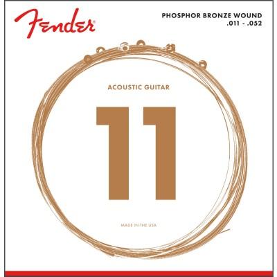 FENDER PHOSPHOR BRONZE ACOUSTIC GUITAR STRINGS BALL END 60CL .011-.052 GAUGES (6)