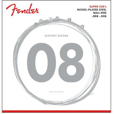FENDER SUPER 250 GUITAR STRINGS NICKEL PLATED STEEL BALL END 250XS GAUGES .008-.038 (6)