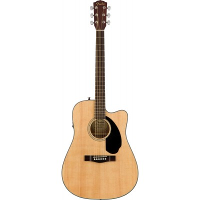 Black Finish Fender CD-60SCE Acoustic-Electric Guitar Dreadnaught Body Style