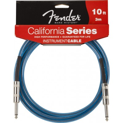 FENDER CALIFORNIA SERIES INSTRUMENT CABLE 10' LAKE PLACID BLUE