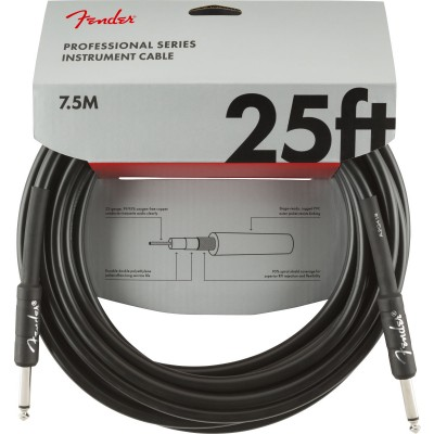 FENDER PROFESSIONAL SERIES INSTRUMENT CABLE STRAIGHT/STRAIGHT 25' BLACK