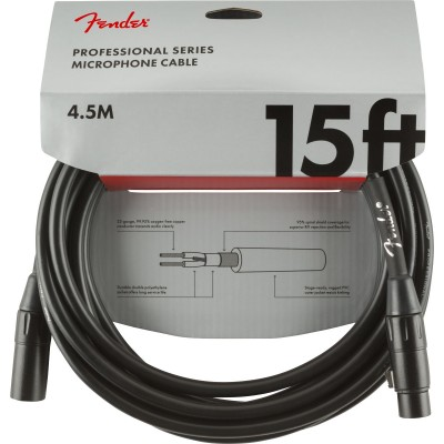 FENDER PROFESSIONAL SERIES MICROPHONE CABLE 15' BLACK