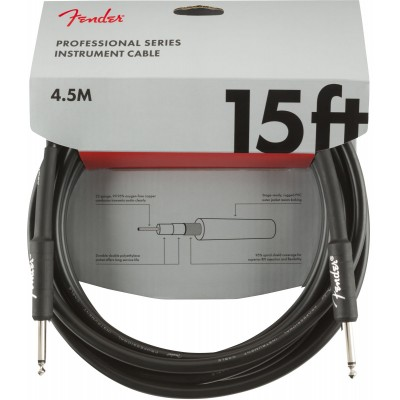 FENDER PROFESSIONAL SERIES INSTRUMENT CABLE STRAIGHT/STRAIGHT 15' BLACK