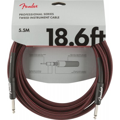 FENDER PROFESSIONAL SERIES INSTRUMENT CABLE 18.6' RED TWEED
