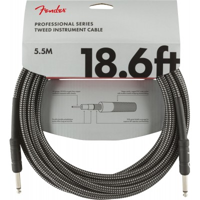 FENDER 5,5M PROFESSIONAL SERIES INSTRUMENT CABLE 18.6' GRAY TWEED