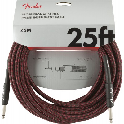 FENDER PROFESSIONAL SERIES INSTRUMENT CABLE 25' RED TWEED