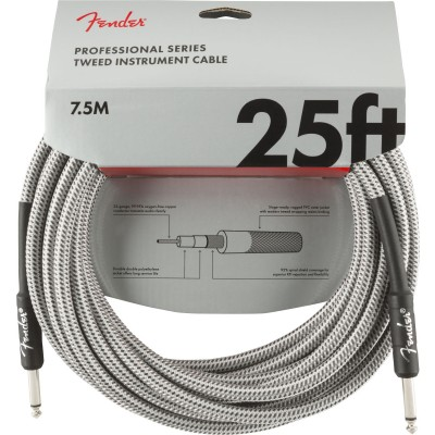 FENDER PROFESSIONAL SERIES INSTRUMENT CABLE 25' WHITE TWEED