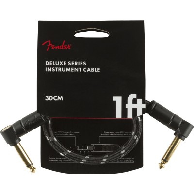 FENDER 30CM DELUXE SERIES INSTRUMENT CABLE ANGLE/ANGLE 1' BLACK TWEED
