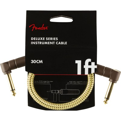 FENDER DELUXE SERIES INSTRUMENT CABLE ANGLE/ANGLE 1' TWEED