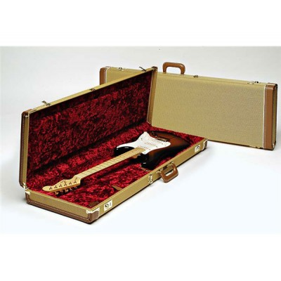 FENDER G&G DELUXE STRAT/TELE HARDSHELL CASE TWEED WITH RED POODLE PLUSH INTERIOR