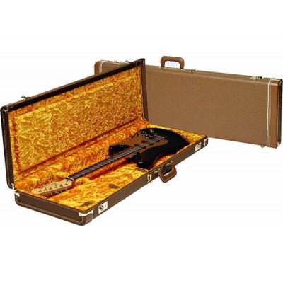 FENDER G&G DELUXE STRAT/TELE HARDSHELL CASE BROWN WITH GOLD PLUSH INTERIOR