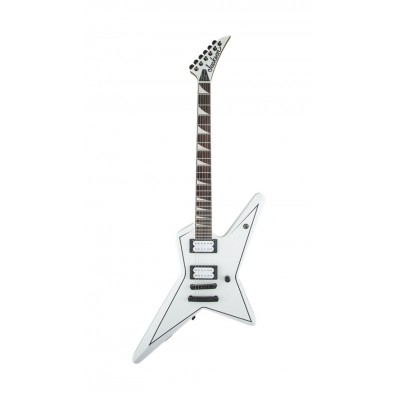 JACKSON GUITARS X SERIES SIGNATURE GUS G. STAR RW SNOW WHITE WITH BLACK PINSTRIPES