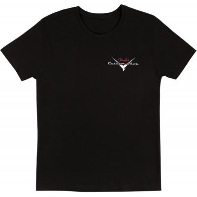 FENDER CUSTOM SHOP T-SHIRT, BLACK WITH RED/SILVER LOGO, XX-LARGE
