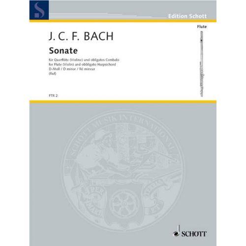 SCHOTT BACH J.C.F - SONATA D MINOR - FLUTE (VIOLIN) AND OBLIGATORYES HARPSICHORD (PIANO)