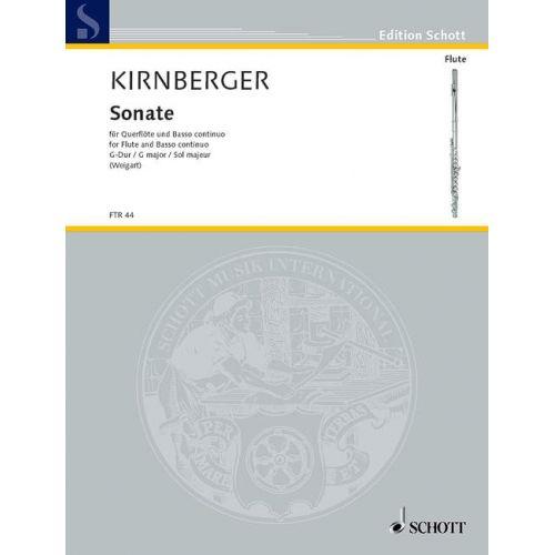 SCHOTT KIRNBERGER JOHANN PHILIPP - SONATA G MAJOR - FLUTE AND BASSO CONTINUO
