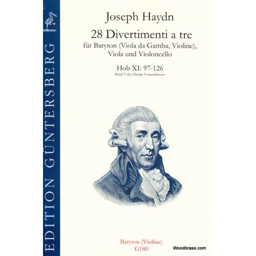 GUNTERSBERG HAYDN J. - 28 DIVERTIMENTI A TRE , Hob XI: 97-126 - PARTIE DE BARYTION (CLE DE SOL)
