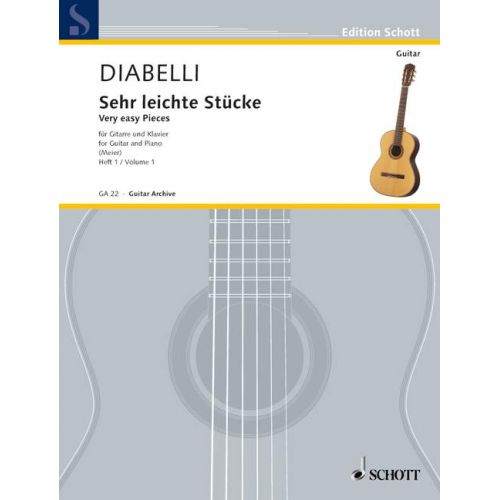 SCHOTT DIABELLI ANTON - VERY EASY PIECES VOL. 1 - GUITAR AND PIANO