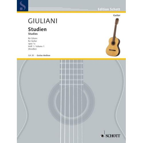 SCHOTT GIULIANI MAURO - STUDIES FOR GUITAR OP. 1A HEFT 1 - GUITAR