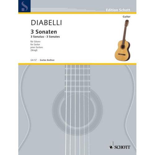SCHOTT DIABELLI ANTON - 3 SONATES - GUITARE
