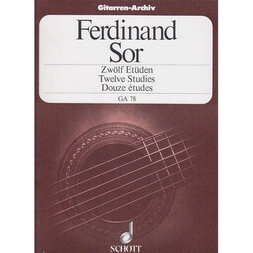 SCHOTT SOR FERNANDO - 12 ETUDES OP.29 GUITARE