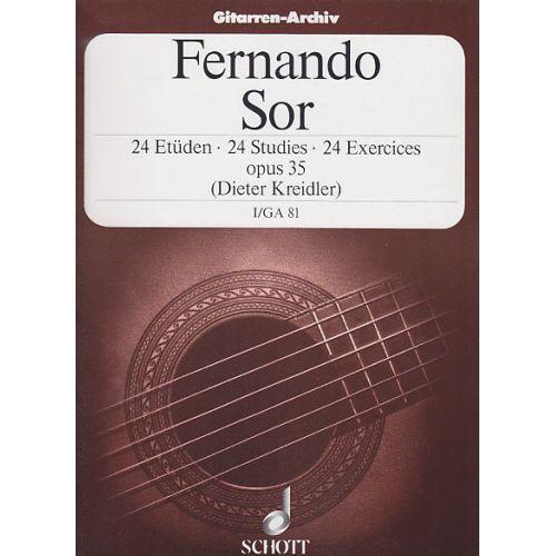 SCHOTT SOR FERNANDO - 24 STUDIES OP.35 VOL.1