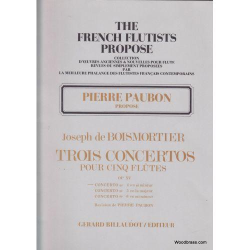 BILLAUDOT BOISMORTIER J.B. - SIX CONCERTOS POUR CINQ FLÛTES OP.XV - CONCERTO N°4 EN SI MINEUR