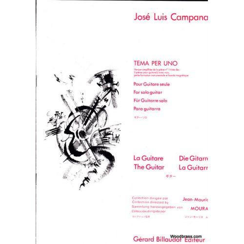 BILLAUDOT CAMPANA JOSE-LUIS - TEMA PER UNO, VERSION SIMPLIFIEE DE LA PIECE N°1 DES 5 PIECES - GUITARE