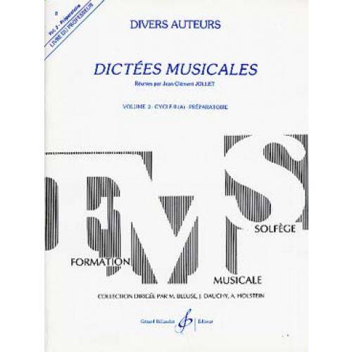 BILLAUDOT JOLLET JEAN-CLEMENT - DICTEES MUSICALES VOL.2 - LIVRE DU PROFESSEUR