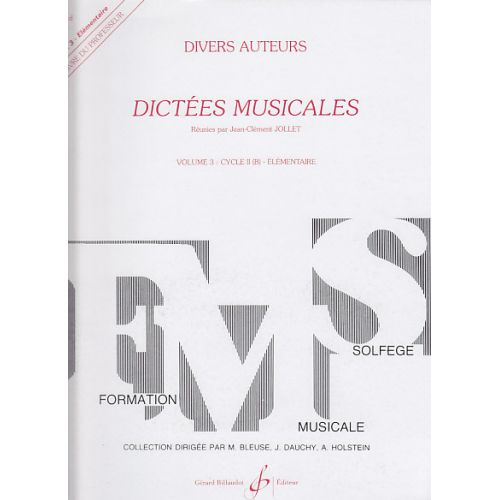 BILLAUDOT JOLLET JEAN-CLEMENT - DICTEES MUSICALES VOL.3 - LIVRE DU PROFESSEUR