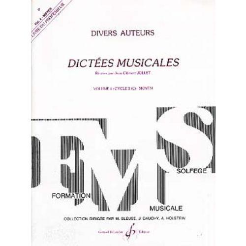 BILLAUDOT JOLLET JEAN-CLEMENT - DICTEES MUSICALES VOL.4 - LIVRE DU PROFESSEUR
