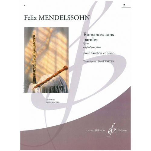 BILLAUDOT MENDELSSOHN-BARTHOLDY F. - ROMANCES SANS PAROLES OP.30 VOL.2 - HAUTBOIS, PIANO