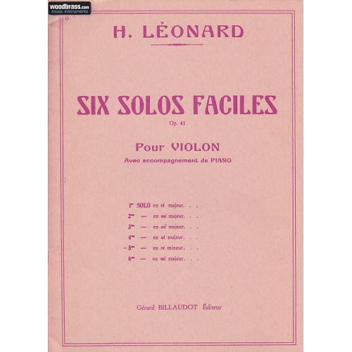 BILLAUDOT LEONARD HUBERT - 6 SOLOS FACILES OP.41 5E SOLO EN RE MINEUR - VIOLON, PIANO