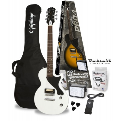 EPIPHONE PRO-1 LES PAUL JR. PACK EQUIPPED WITH ROCKSMITH ALPINE WHITE