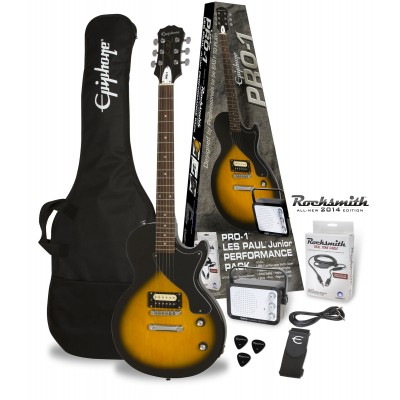 EPIPHONE PRO-1 LES PAUL JUNIOR VINTAGE SUNBURST PACK (ROCKSMITH)