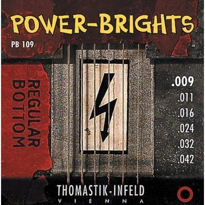 THOMASTIK CORDES POUR GUITARES ELECTRIQUES POWER BRIGHTS SERIES JEU